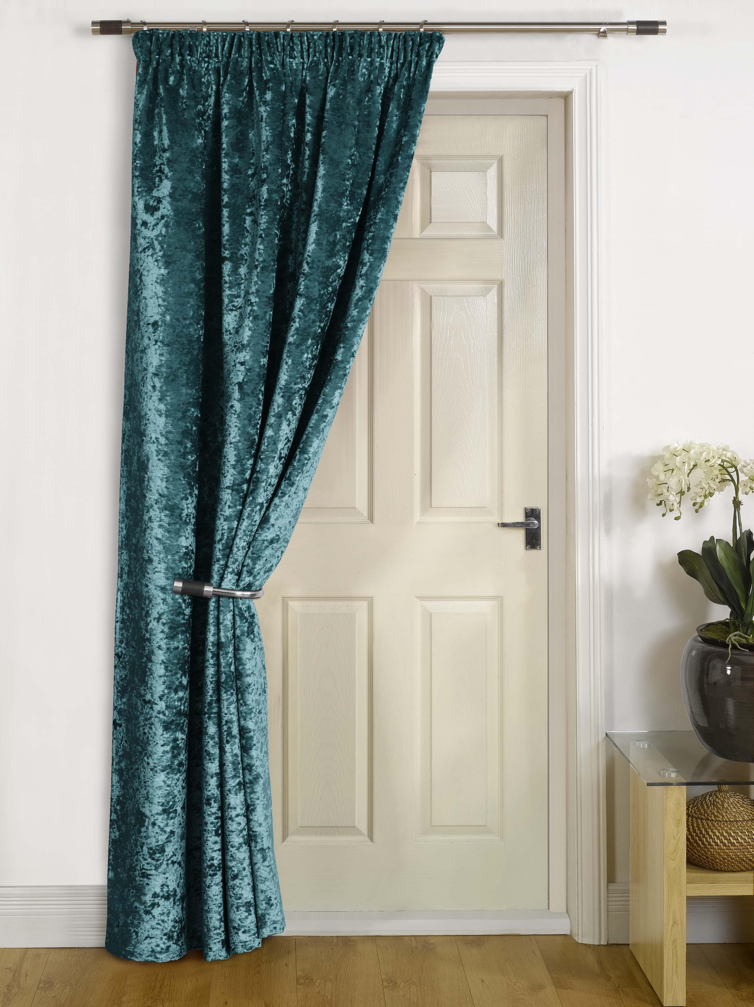 Thermal Lined Door Curtain Quot Rajpur Quot Crush Velvet Self